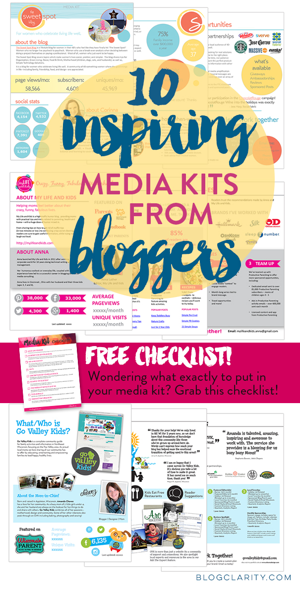 Media Kit examples from bloggers who used flexible, professional media kit templates. Get media kit ideas from 10 bloggers plus a FREE media kit checklist! #makemoneyonline #mediakits #bloggingtips #entrepreneur #canva